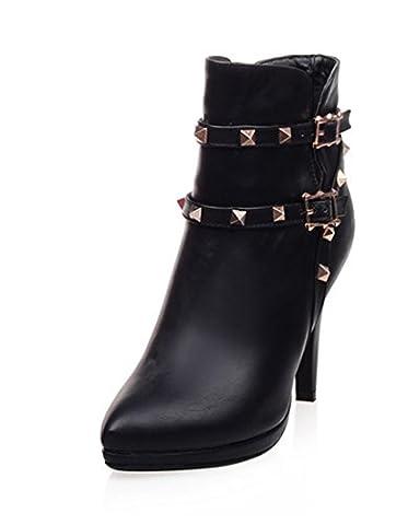 YE Damen Spitze High Heels Stiletto Stiefeletten mit Schnalle und Nieten PU Leder Elegant Herbst Winter Ankle Boots Schuhe