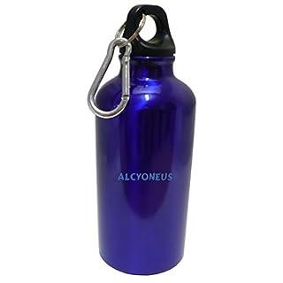 Personalisierte Wasserflasche mit Karabiner mit Text: Alcyoneus (Vorname/Zuname/Spitzname)