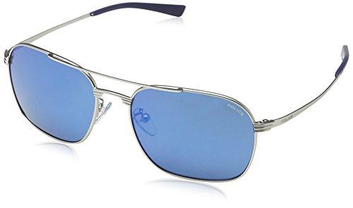 Police - occhiali da sole s8952 rival 1 rettangolari, uomo, matt palladium frame/blue mirror lens