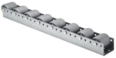 Torwegge 1 Meter Palettenrollschiene, verzinkt, Profil zweireihig, 3 mm stark, Rolle mit PVC-Belag, Durchm. 50 mm, Tr aglast 150 kg, Bauhöhe 69 mm, Achsabstand 182 mm