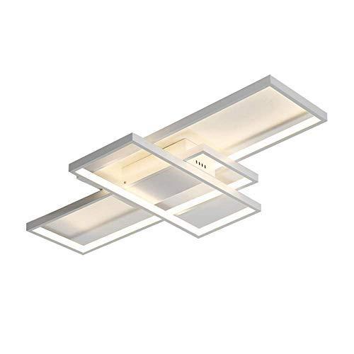 Dimmbar LED Deckenleuchte Deckenlampe Modern Ring Rechteck Design Decken Kronleuchter für Schlafzimmer Wohnzimmer Küche Esszimmer Studio Büro Halle Beleuchtung mit Fernbedienung,WhiteØ105cm Itt-ring
