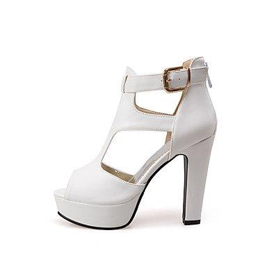 LvYuan Damen-Sandalen-Hochzeit Kleid Party & Festivität-PU-Blockabsatz-Gladiator Club-Schuhe Komfort-Schwarz Gelb Weiß White
