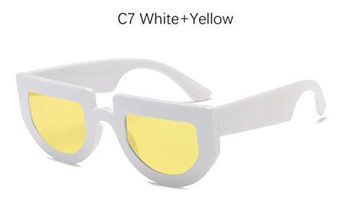 Cranky Orange Square Vintage Shield Sonnenbrille Damenmode Halbrand Sonnenbrille Für Herren Retro kleine Flache Oberseite Gelb Brillen Shades, C7 Weiß Gelb