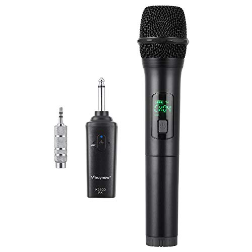 Microphone sans Fil,Mbuynow Microphone sans Fil UHF 10 Canaux Micro à Main Portable avec Mini Récepteur 1/4Sortie pour Karaoké, Fête, Conférence, Mariage en Plein Air,Bar, Eglise etc.