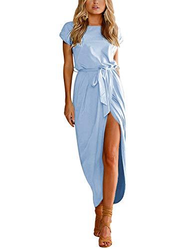 YOINS Sommerkleid Damen Lang Maxikleider für Damen Strandkleid Sexy Kleid Kurzarm Jerseykleider Strickkleider Rundhals mit Gürtel hellblau EU40-42