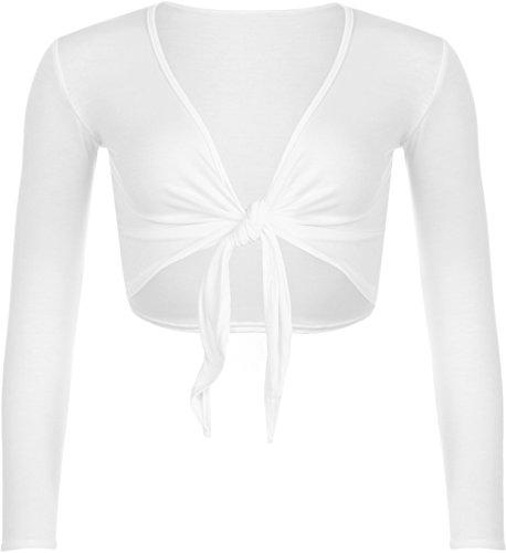 WearAll - Damen Binden Jäckchen Cardigan Top Übergröße - Weiß - 48-50