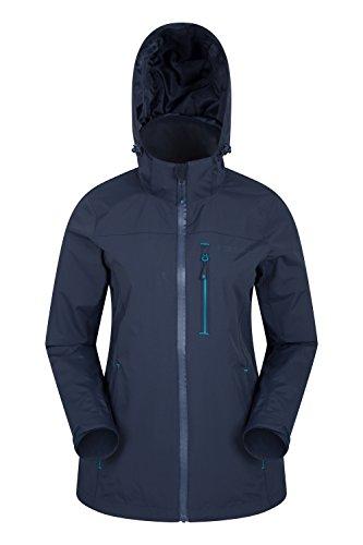 Mountain warehouse giacca da donna rainforest - impermeabile, fodera in rete, cappuccio a scomparsa, tasche, giacca estiva con fondo regolabile - passeggiate, campeggio blu navy 42