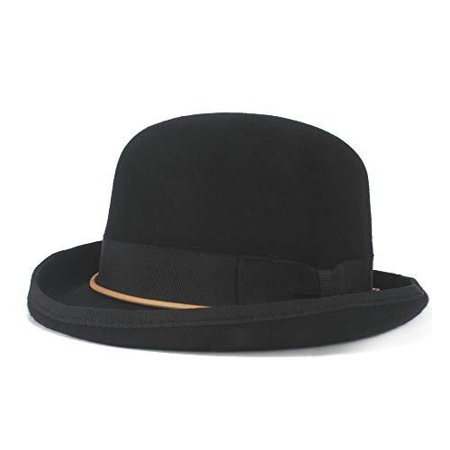n Wolle Melone Kette Bogen Elegante Kuppel Hut Weichen Hut Headwear Retro Steampunk Pork Pie Hut (Farbe : Schwarz, Größe : 61 cm) ()