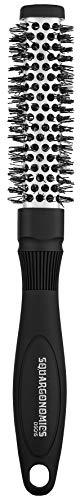 Denman Rund-Haar-Bürste Squargonomics, für schnelles/schonendes Föhnen/Glätten kurzer Haare, gewellte Nylonborsten, Durchmesser 20 mm, silber (Runde Haarbürste Aus Keramik)