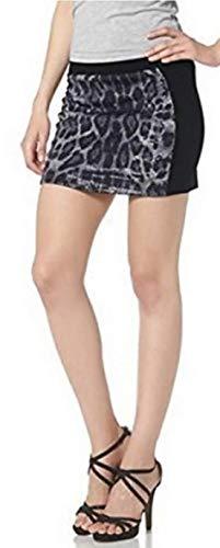 Melrose Rock - Minifalda con Estampado de Leopardo, Color Negro Negro 36
