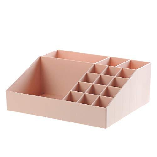 KKY-ENTER Boîte de rangement pour cosmétiques Salon Pièces diverses pour le bureau Boîte de finition Rouge à lèvres Poudre Brosse Vitrine en plastique (Couleur : Pink)