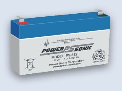 Bleiakku - Akku Powersonic PS 612 - Powersonic PS612 - Powersonic PS-612 - 6V 1,3Ah - Rechargeable Sealed Lead Acid (SLA) Battery - AGM / Blei Vlies Sealed Lead Acid-agm