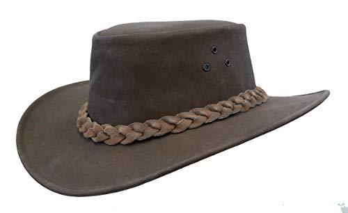 Kakadu Outdoor Lederhut Queenslander aus Wildleder mit geflochtenem Hutband