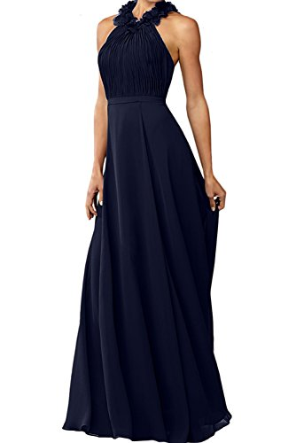 Ivydressing Damen Rundkragen Chiffon A-Linie Abendkleider Lang Mutterkleider Ballkleider Tintenblau