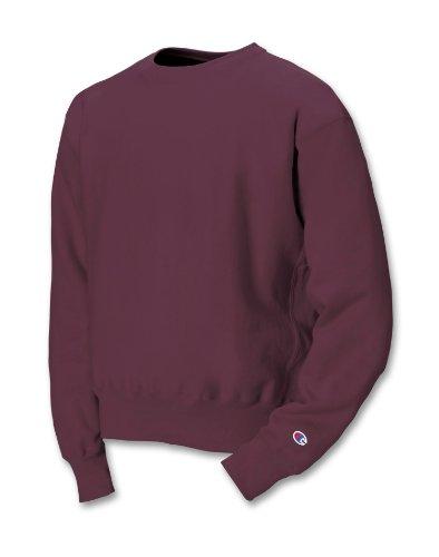 Champion LIFE Men' Reverse Weave Fleece Crew, Maroon, Large (Heavyweight Champion Sweatshirt)