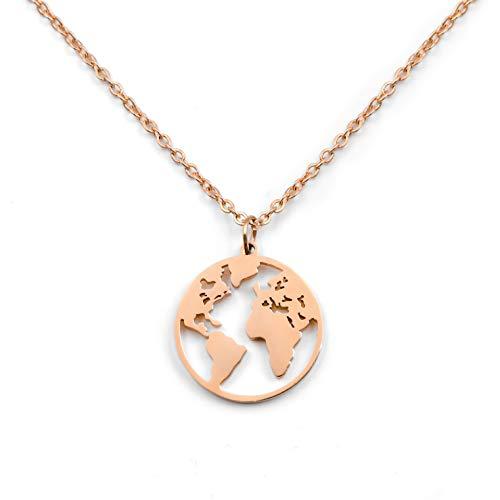 SHINE & WANDER Travel the World Necklace | Damen Edelstahl Halskette mit Weltkugel Anhänger in Gold, Silber und Roségold mit verstellbarer Länge 46-51 cm (Roségold)