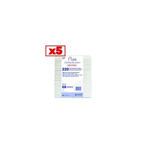 Carrés De Coton 100% Coton Hydrophile Carton De 5 Sachets De 200 Carrés 8 X 10 Cm- Cot-810_5 - By Antigua Health Care