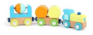 11495 Tren pequeño de Madera, Small Foot, con Locomotora y Dos remolques, en Colores Vivos, para niños a Partir de 1 año.