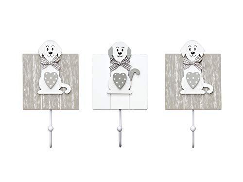 SPOTTED DOG GIFT COMPANY 3er-Set Dekorative Hund Kleiderhaken Wandhaken Garderobenhaken Holzhaken mit Hundedesign, 2 grau und 1 weiß in Holz Hausdekoration für Wand