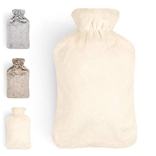 Blumtal Borsa Acqua Calda - Morbida Cover Peluche, capacità 2 L, Colore Bianco