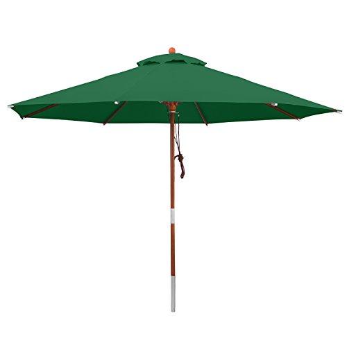 anndora Sonnenschirm Grün 3 m rund Gartenschirm Wasserabweisend Winddach