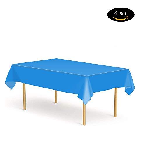 Etmury Tischdecke Einweg [6 Set], Tischdecke Plastik Garten Tischdecke 137x274cm Rechteckig Tischtuch Ideal für Parteien Feste Hochzeit, Indoor Outdoor Einweg Tischdecken Tiefes Blau