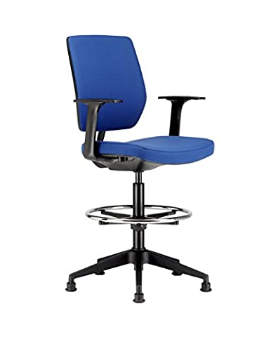 Chairs For Offices HI131104BL High Seat Draughtsman Workbench Counter Chair with Arms Blue Free 3 day Delivery