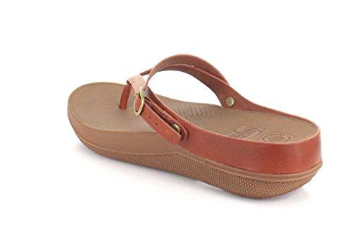 FitFlop Damen Flip Leather Sandals Peeptoe, Silber Braun