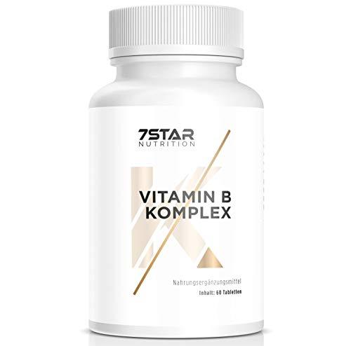 Vitamin B Komplex hochdosiert | Mit hochwertigem Vitamin B1 B2 B3 B5 B6 B7 B9 B12 (Folsäure, Biotin, Niacin und Pantothensäure) | 60 Kapseln hergestellt in Deutschland | 7 Star Nutrition