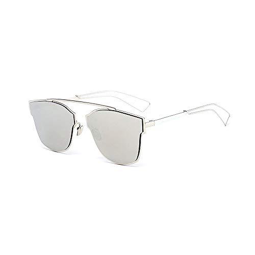 XHCP Frauen Polarisierte Klassische Aviator Sonnenbrille, Damenmode Sonnenbrille Unregelmäßiger Metallrahmen Halber Randloser Cat Eye Sonnenbrille Klassisches Fahren Für Dame (Farbe: Silber)