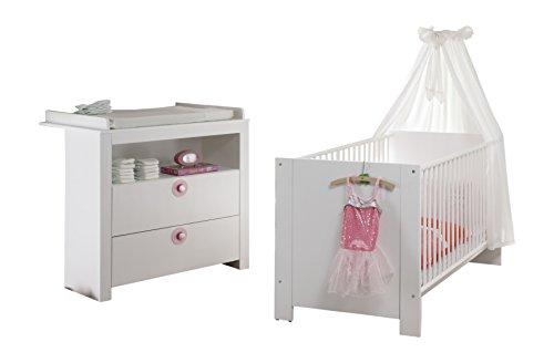 trendteam Babyzimmer 2-teiliges Komplett Set Olivia in Weiß  mit Filzapplikation in Blau, viel Stauraum und pflegeleichten Oberflächen