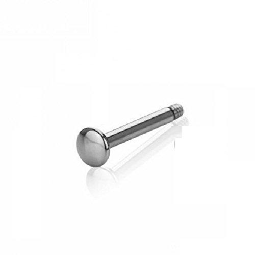 Titan - Labret - ohne Kugel - abgerundete Bodenplatte (Piercing Stab für u.a. Lippen-, Nasen-, Conchpiercings silber) 1,2 mm | 10 mm
