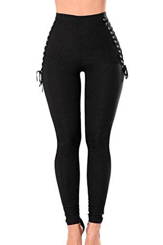 Frauen Hohe Taille Push - Up - Spitzen Auf Dünne Lange Leggins Hose Black XS