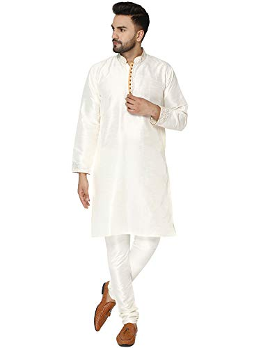 SKAVIJ Men's Dupion Art Silk Kurta Pajama Set Dress Off-White_L