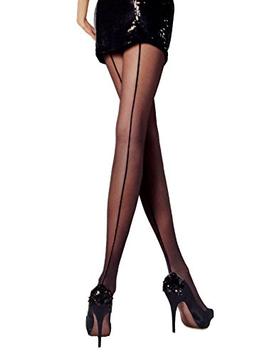 7d362b20b39 Knittex Iga Women Tights Pantyhose Stockings with seam on the hind leg  Black half-mat