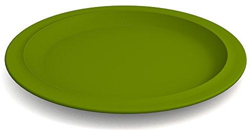 Ornamin Teller flach Ø 26 cm grün, Melamin | großer hochwertiger, stabiler Kunststoffteller | robustes Alltags-Geschirr für Kinder, Camping, Picknick, Gemeinschaftsverpflegung, Großküchen, Institutionen | Menüteller, Speiseteller
