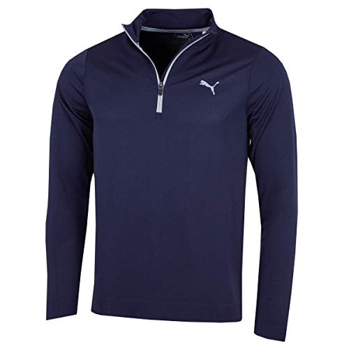 Puma Mens Golf Essential Evoknit 1/4 Zip Pullover - Peacoat...