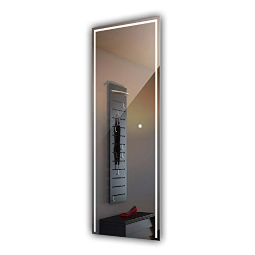 FORAM 60x180cm Wandspiegel mit LED Beleuchtung für das Badezimmer, Wohnzimmer, Gastzimmer, Schlafzimmer Spiegel mit Lichtschalter - Warm/Kalt Weiß L11 L11 Sensor
