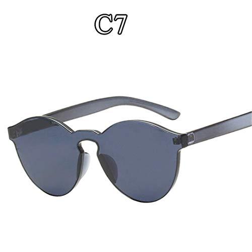 DAIYSNAFDN Einteilige Linse Sonnenbrille Frauen Transparente Plastikbrille Männer Stil Sonnenbrille C7