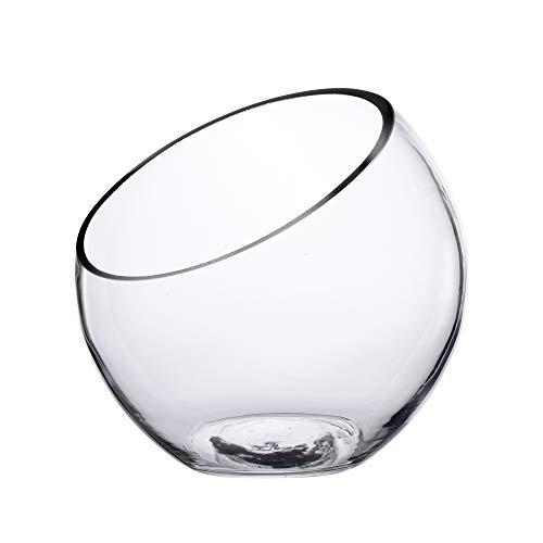 KnikGlass Transparant Glasvase Kristallglasschale Vasen kugelvase Glas Vase Blumenvase 17,5 x 17,5 cm