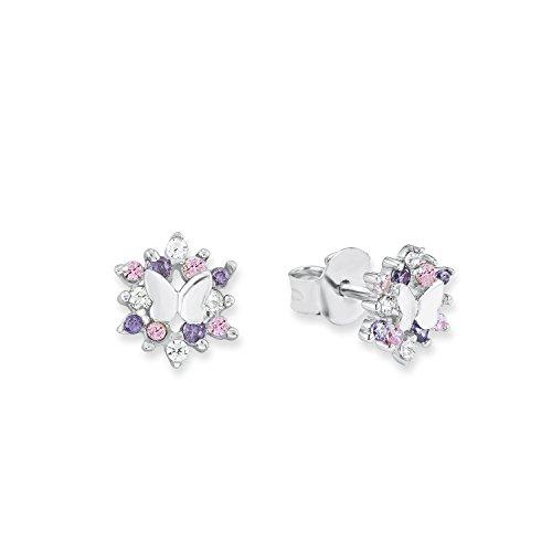 Prinzessin Lillifee Kinder-Ohrstecker Mädchen Schmetterlinge 925 Silber rhodiniert Zirkonia lila rosa