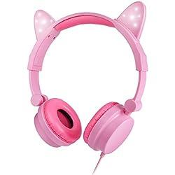 Auriculares para niños, HYX Volume Limiting Auriculares para niños Sobre el oído Auriculares para bebés con diseño estéreo Ajustable Cat para iPhone iPad Mini iPad Tablets PC MP3, Rosa