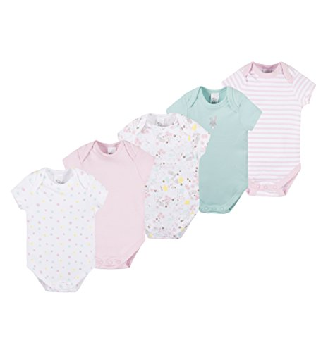 C&A Baby Mädchen Bodies Romper 5-er Pack Multipack kurzarm gepunktet gestreift Bio-Baumwolle rosa weiß Größe 56