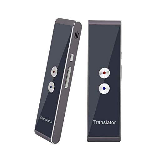 Tragbarer, intelligenter Übersetzer mit 40 Sprachen, Sprachübersetzer in Echtzeit-Sprache, Bluetooth Smart Pocket Interpreter (T8-Silber-Grau) -