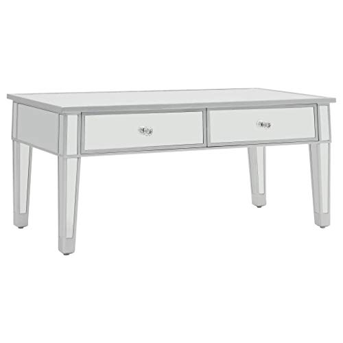 d'Appoint Verre Table vidaXL Table Canapé Miroir Basse Salon Table Table MDF 35Aj4LR