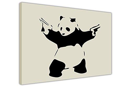 Iconic Panda con Pistole Banksy Stampa su tela stampe immagini con decorazioni, puntine Tela Legno, Cream, 02- A3 - 16