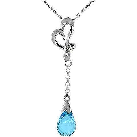 """Oro bianco 9 kt, a forma di cuore, intagliato & topazio blu, con diamanti da 0,01 carati, taglio a brillante, 1 3/8 in. 35 mm di altezza, w/45,72 cm (18"""") catenina da"""