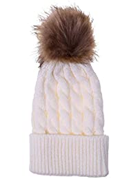 Mxssi 2 UNIDS Sombreros de Invierno para Niños Mamá Bebé Niño Cálido Faux  Piel de mapache Gorro de algodón Punto padre-niño Pom pom… 8d6939c91a66