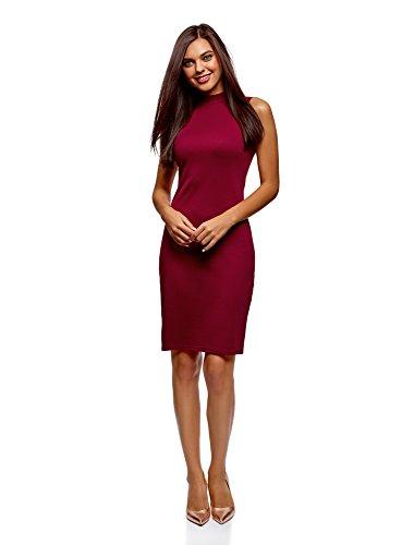 oodji Ultra Damen Midi-Jersey-Kleid, Rot, DE 42 / EU 44 / XL