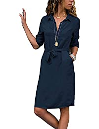 Yidarton Hemdblusenkleid Damen Kleider Knielange Minikleid Shirtkleid  Frühling Sommer Casual V-Ausschnitt Button Up 1 6d0bd78e71